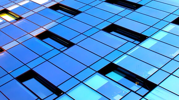 Blue building with windows