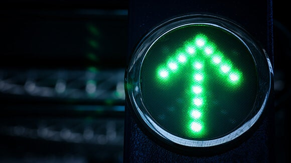 Green traffic light arrow pointing up