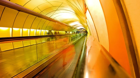 Yellow underground commuter tunnel