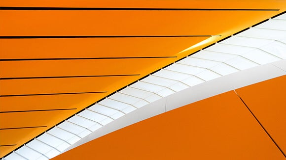 Modern orange and white tunnel