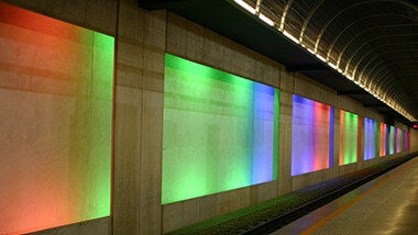 Underground subway wall of different colors