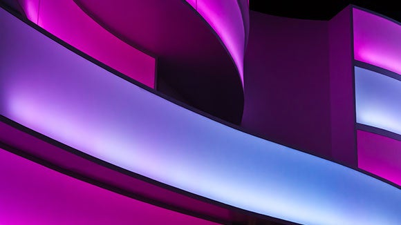 Modern wavy structure with purple neon lights